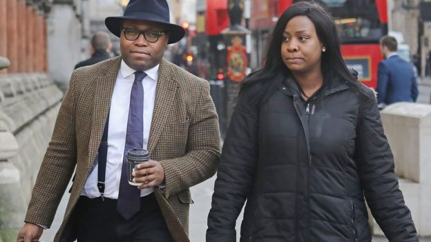 "Isaiah Haastrup""s father Lanre Haastrup and mother Takesha Thomas arrive at the High Court in London"