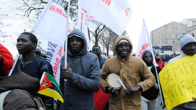 Demonstrators march during an anti-racism rally in Macerata, Italy, 10 February 2018