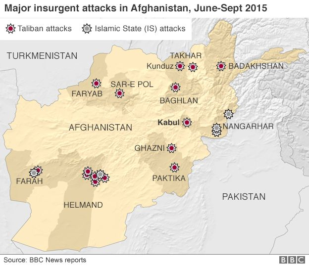 How many foreign troops are in afghanistan bbc news map of major insurgent attacks in afghanistan june september 2015 gumiabroncs Choice Image