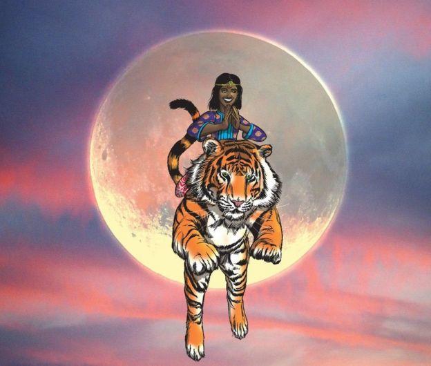 बाघ पर सवार प्रिया मिरर