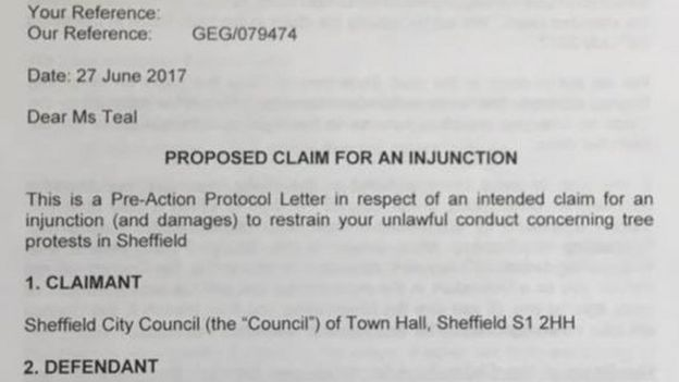 Letter from Sheffield City Council to Alison Teal
