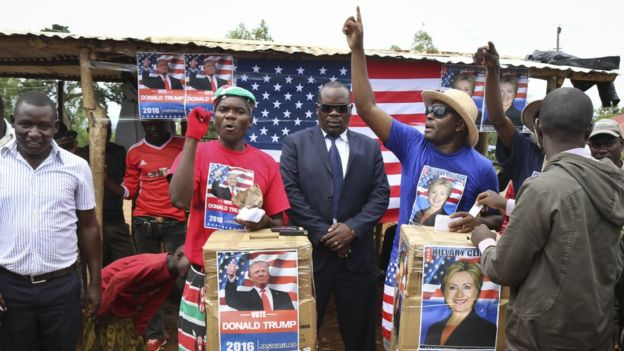 Comedians stage a mock election in the village of Kogelo, the home town of Sarah Obama, step-grandmother of President Barack Obama, in western Kenya, Tuesday 8 November 2016