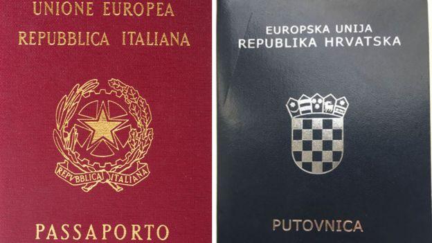 Pasaporte italiano y pasaporte croata.