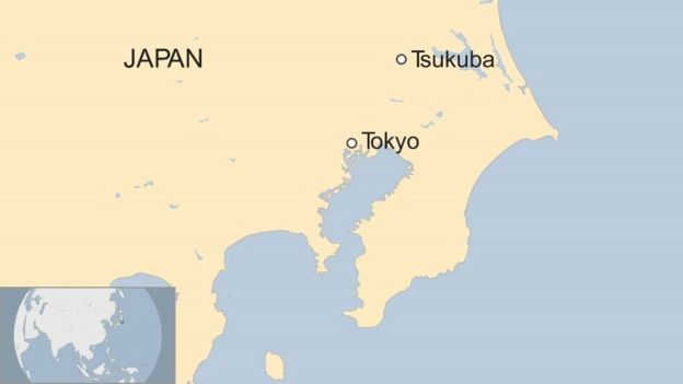 A map showing Tokyo and Tsukuba in Japan