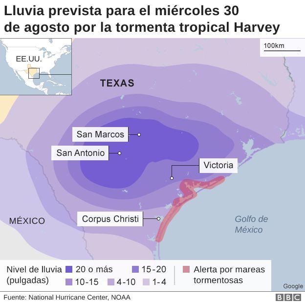 Mapa con la previsión del comportamiento de Harvey para el miércoles 30 de agosto