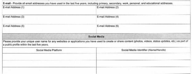 formulario de visa