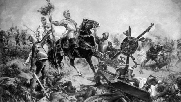 Antigua ilustración que muestra una batalla entre los conquistadores españoles y los aztecas