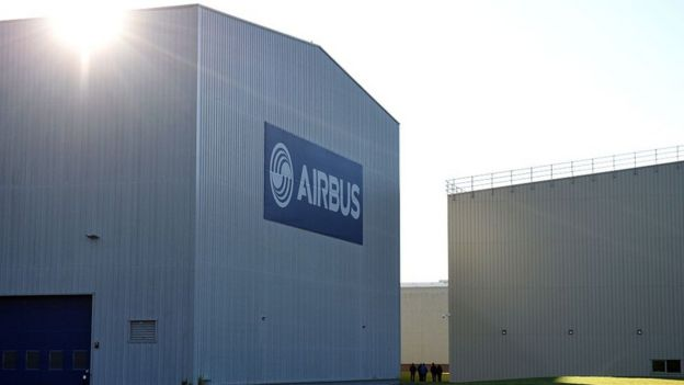 The exterior of an Airbus warehouse in Broughton