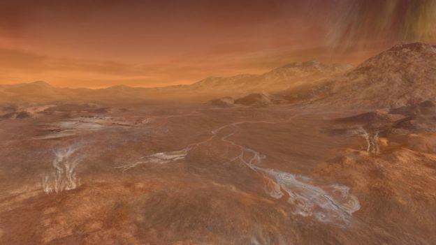Dibujo de la superficie de Titán