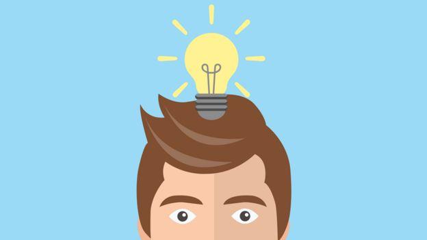 Dibujo de un hombre con una lamparita en su cabeza.