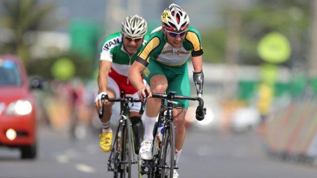 Golbarnezhad compitiendo en la categoría masculina C4-5 en Río el día del accidente.
