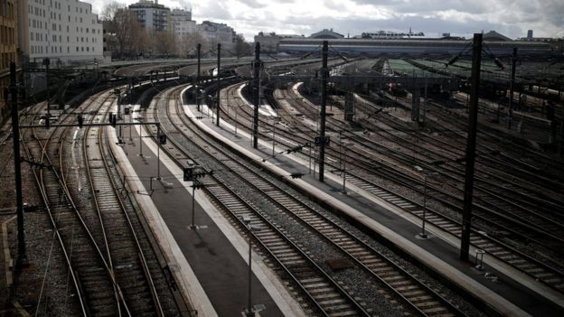 Empty platforms are pictured at Gare de l'Est train station during a nationwide strike by French SNCF