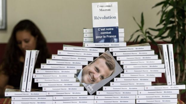 Copies of Mr Macron's book Revolution at the Guianese Regional Cultural Center, in Remire-Montjoly on the French overseas territory of Guiana