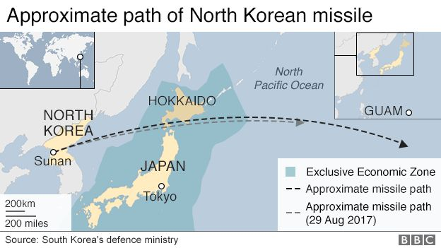 North Korea Fires Second Ballistic Missile Over Japan BBC News - North korea missile hit map in us