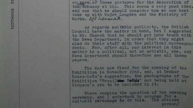 Trecho do documento no qual o diplomata Victor Perowne
