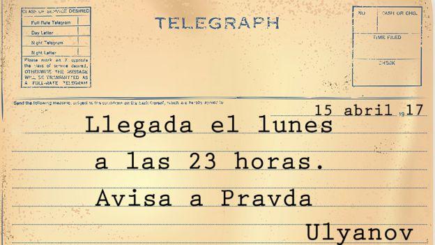 Telegrama: Llegada el lunes 23 horas. Avisa a Pravda.