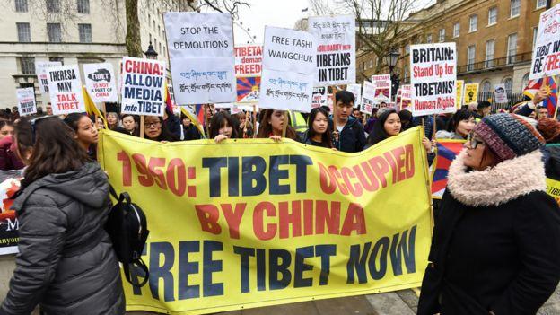 Tibetan self-rule rally in London, 10 Mar 18
