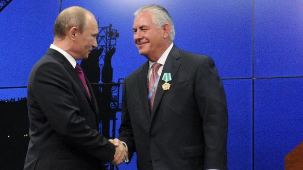 El presidente ruso, Vladimir Putin, y Rex Tillerson.