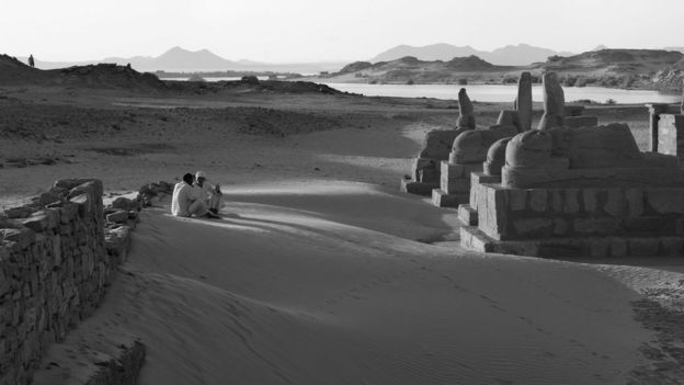 Egypt.            Lake Nasser. The temple of El Seboua on the edges of the lake