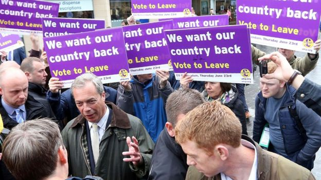 Nigel Farage campaigning for Vote Leave before the EU referendum