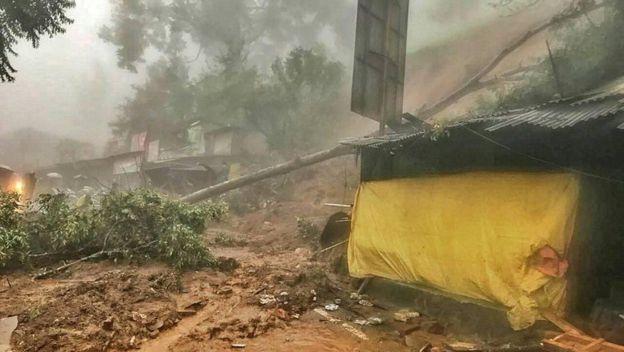Penampakan longsor di Bogor