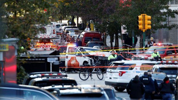 Caminhão após o ataque