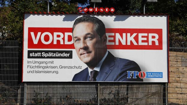 An election campaign poster of far-right Freedom Party of Austria (FPOe) head and top candidate Heinz-Christian Strache
