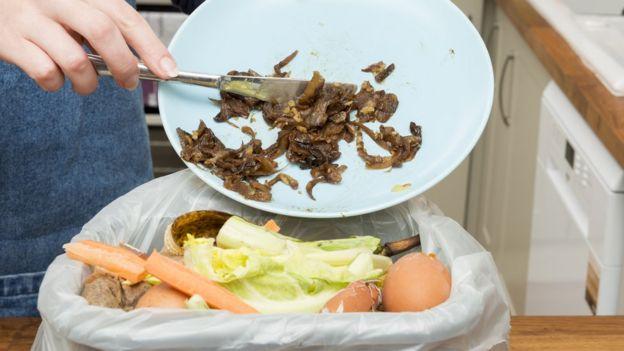 Comida tirada a la basura