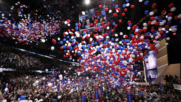 Balloons marked the end of the speech