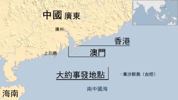地圖:中美軍機相遇地點(25/5/2017)
