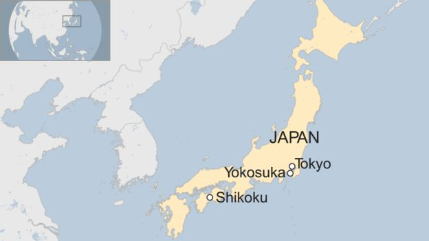 Map of Yokosuka and Shikoku in Japan