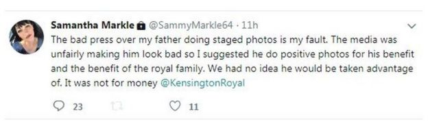 Samantha Markle's tweet