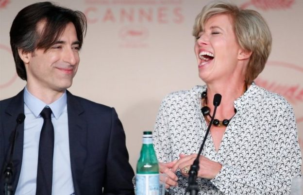 Director Noah Baumbach and actress Emma Thompson attend the