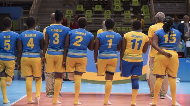 Rwanda sitting volleyball players in a line at the Paralympic Games in Rio de Janeiro, Brazil - Saturday 10 September 2016