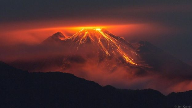 At 3,500m, the active Reventador volcano erupts - at night, you can see lava and melted rocks thrown with huge power
