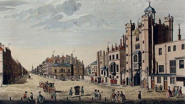 Сент-Джеймсский дворец, гравюра XVIII века.