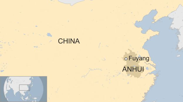 Map showing Fuyang city in Anhui province in China