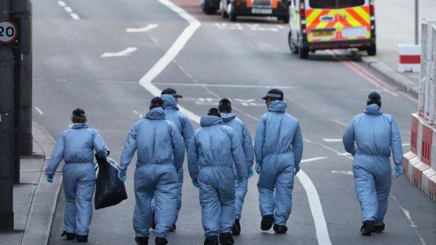 London Bridge çevresindeki adli tıp ekipleri