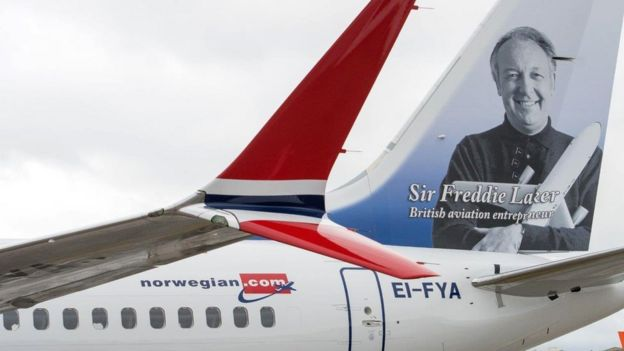 Norwegian aeroplane with Freddie Laker on tailfin