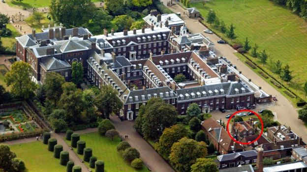Aerial shot showing Nottingham Cottage at Kensington Palace