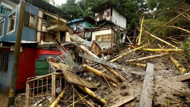 Houses damaged by a mudslide are seen during heavy rains of Tropical Storm Nate that affects the country in San Jose, Costa Rica October 5, 2017