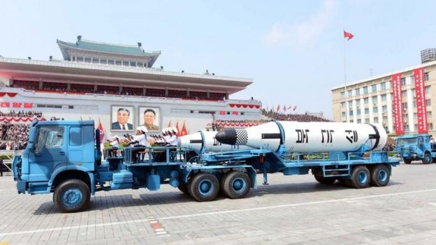 The missile - the Korean Peoples Polaris - displayed through Kim Il-Sung square during a military parade in Pyongyang April 16, 2017
