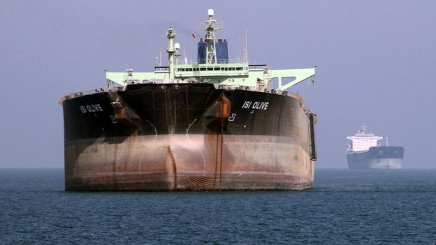 An oil tanker in front of the port of Bandar Abbas, in southern Iran, on July 2, 2012