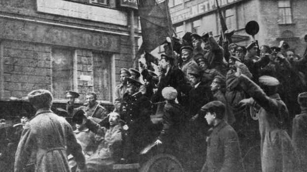 A lorry carrying Russian revolutionaries in Petrograd (St Petersburg) 1917