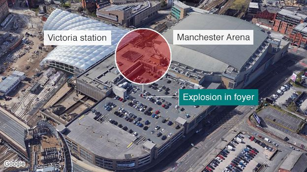 Manchester Arena showing area of blast