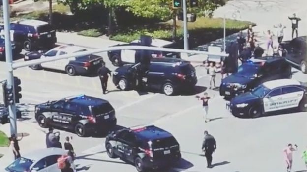 Officials are seen following a shooting at the headquarters of YouTube, in San Bruno, California, U.S., April 3, 2018 in this picture grab obtained from social media video.