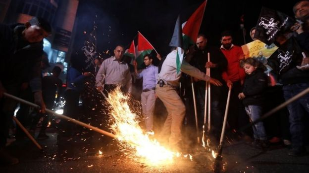 Palestinians in the West Bank protest against the opening of the US embassy in Jerusalem. Photo: 13 May 2018