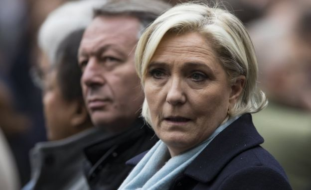 Marine Le Pen attends a ceremony for slain police officer Xavier Jugele, at the Paris police headquarters on 25 April, 2017.