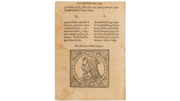 Portada del primer catecismo impreso en Sudamérica