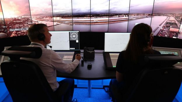 A picture of the remote operations room which will direct aircraft at London City Airport